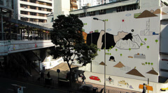 Urban Art in Central Financial district Hong Kong China Asia - stock footage