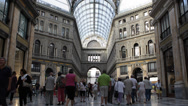 Stock Video Footage of Naples Galleria Umberto Shopping Center Busy People Buying Famous Brand Clothes