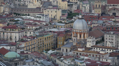 Naples Aerial View Historic Old Town Houses Roofs Buildings Church Dome Cupola Stock Footage