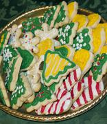 Frosted And Decorated Homemade Cutout Christmas Cookies - stock photo