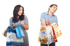Envy woman on man shoppings - stock photo