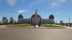 Griffith Park Observatory Front Entrance Plaza Wide Angle Time Lapse Stock Footage