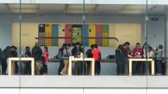 Apple Flagship shop at Central Financial district Hong Kong China Asia Stock Footage