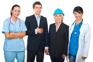 Happy workers  over white background Stock Photos