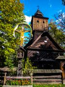 Old wooden church in roznov museum Stock Photos