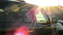 Lens flear on miami roads during sunset high contrast Stock Footage
