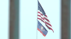 American Flag through bars Stock Footage