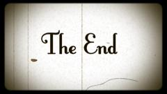 the end, old damaged film effect, wide-screen projector, border, leader tape - stock footage