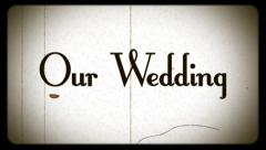 Wedding, old damaged film effect, vintage, wide-screen projector Stock Footage
