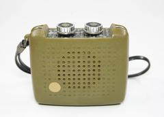 Vintage transistor radio isolated white Stock Photos