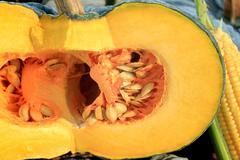 the cut fresh pumpkin - stock photo