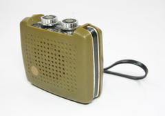 vintage transistor radio isolated white - stock photo