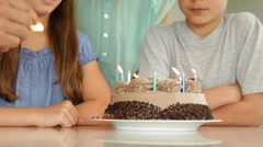 Father lighting candles on birthday cake for his family Stock Footage