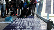 Stock Video Footage of Street performer Sand Calligraphy in Central Hong Kong China Asia