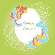 Easter card egg with wishes for a happy Easter - stock illustration