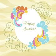 Stock Illustration of Easter card egg with wishes for a happy Easter