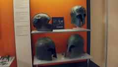 Helmets found in a museum in Delphi, Greece. Stock Footage
