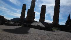 Silhouette of Ancient Pillars at Delphi Stock Footage