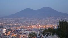 Dusk Lights Naples Skyline Italian Busy City Port Mount Vesuvius Night Evening Stock Footage