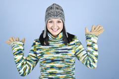 Happy teen female in winter season Stock Photos