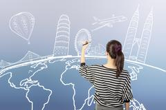 asian woman drawing or writing dream travel around the world - stock illustration