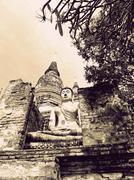Buddha statue in wat yai chai mongkol- ayuttaya of thailand (vintage tone) Stock Photos