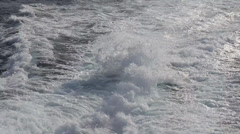 Ocean sea with fast yacht boat wake foam of prop wash Stock Footage