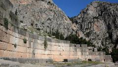 Large Ancient wall at Delphi - stock footage