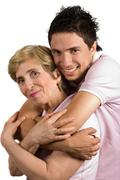 Stock Photo of Happy bonding mother and son