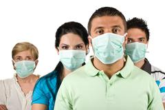 Portrait of people protect from flu Stock Photos