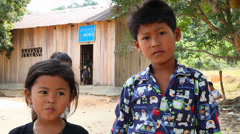 Girl and boy. Cambodia. Stock Footage
