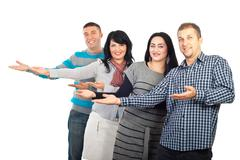 Group of people making presentation - stock photo