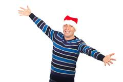 Happy man with Santa hat open arms - stock photo