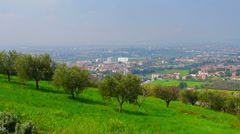 Vicinities of Verona, Italy, view from the hill. Panning camera movement. Stock Footage