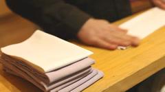 Folding napkins Stock Footage