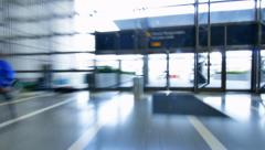 POV people walk inside airport terminal, timelapse. Stock Footage