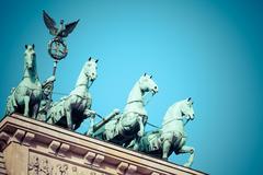 Stock Photo of the quadriga on top of the brandenburg gate, berlin