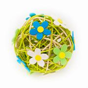 Beautiful sphere made of bound wicker with florets Stock Photos