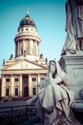 gendarmenmarkt in berlin, germany. view on german cathedral and konzerthaus. - stock photo