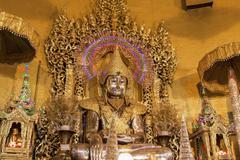 "Buddha statue,made from gold in ""kaba aye"" pagoda in yangon, burma (myanmar) Stock Photos"