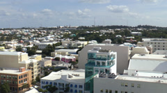 Aerial Panning Shot Of Downtown Hamilton Bermuda Stock Footage