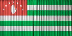 abkhazia flag on curtain - stock photo