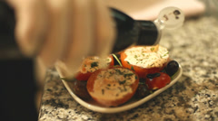 Vegetable meal seasoned with aceto balsamico before served Stock Footage