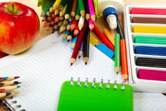 School and office supplies on a wooden table. back to school. Stock Photos