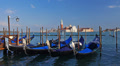 Gondolas in Venice swaying on the water.  Footage