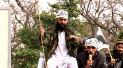 Bearded Islamists Protest at an Extremist Rally in Pakistan Stock Footage
