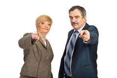 You are the one!Mature people pointing Stock Photos