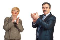 Mature business people applauding Stock Photos