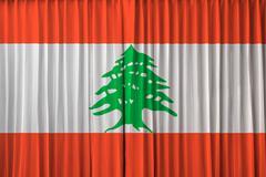 lebanon flag on curtain - stock photo