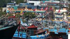 Chinese fishing junks boats Trawlers at Cheung Chau harbour Hong Kong China Asia - stock footage